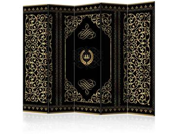 3-teiliger Paravent mit orientalischem Muster Schwarz und Goldfarben