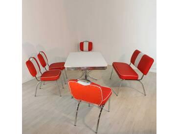 Retro Bistrogruppe in Rot Weiß gestreift Bank (6-teilig)