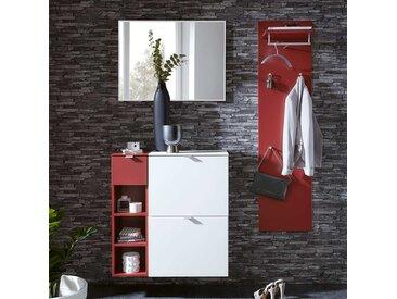Flurgarderobe in Weiß und Rot modern (4-teilig)