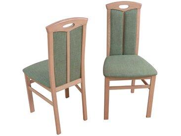 Holzstuhl Set aus Buche Massivholz Grün Stoff (2er Set)