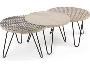 Design Wohnzimmertisch aus Mangobaum Massivholz und Stahl Schwarz gemustert (3-teilig)