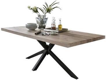 Loft Tisch aus Eiche White Wash massiv Schwarz Stahl