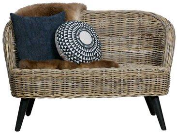 Rattan Couch in Naturfarben Armlehnen