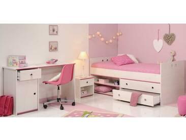 Jugendzimmer Einrichtung in Weiß Pink Stauraumbett (3-teilig)