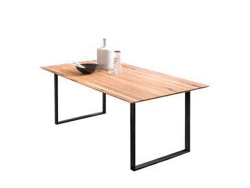 Küchen Tisch Eiche Massivholz Bügelgestell in Schwarz