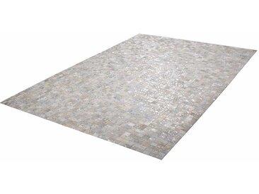 Echtfell Patchwork Teppich in hell Grau und Silberfarben modern