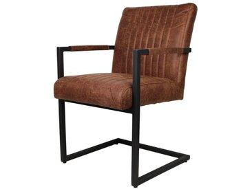 Armlehnen Schwingstuhl in Braun Schwarz Echtleder (2er Set)