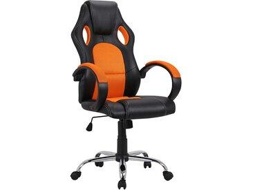 Racer Design Schreibtischstuhl in Schwarz und Orange hoher Lehne
