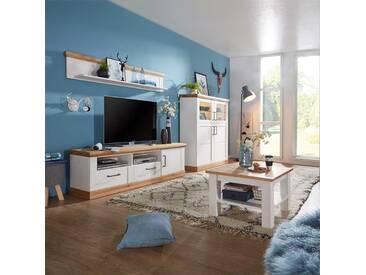 Wohnzimmereinrichtung in Weiß Eiche massiv Landhausstil (4-teilig)