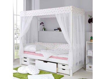 Mädchen Himmelbett in Weiß Rosa Kiefer Massivholz