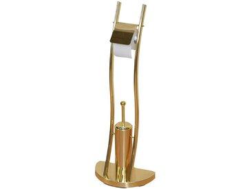 Klopapierhalter und Bürste in Messingfarben Metall