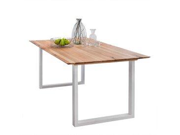 Küchentisch aus Eiche Massivholz Metall Bügelgestell in Weiß