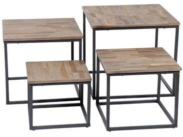 Couchtisch Set aus Teak Massivholz Bügelgestellen in Schwarz (4-teilig)