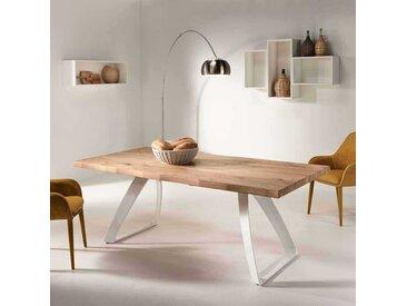 Designertisch mit Baumkante aus Eiche Weiß Metall