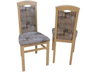 Esstischstuhl aus Buche Massivholz Webstoff Bunt (2er Set)