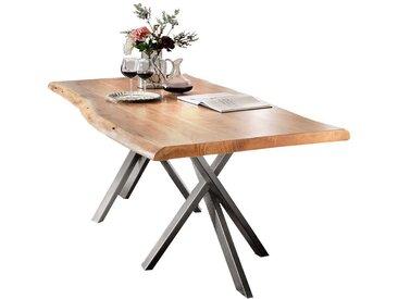 Baumkantentisch aus Akazie Massivholz Stahl Silberfarben antik