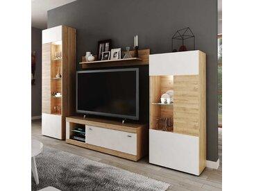 Wohnzimmerschrankwand in Weiß und Wildeichefarben modern (4-teilig)