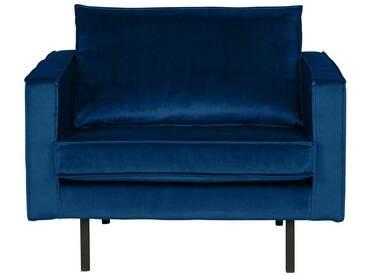 Retro Sessel mit Samtbezug Blau