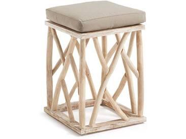 Holz Hocker aus Teak Massivholz mit Sitzkissen