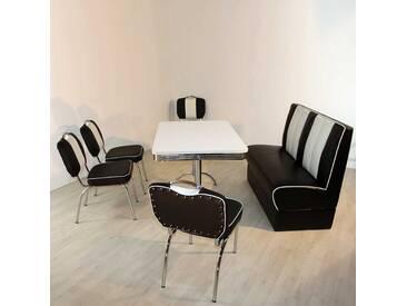 Retro Essgruppe in Weiß Schwarz gestreift Bank (6-teilig)