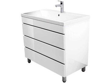 Waschtischunterschrank in Hochglanz Weiß 85 cm hoch