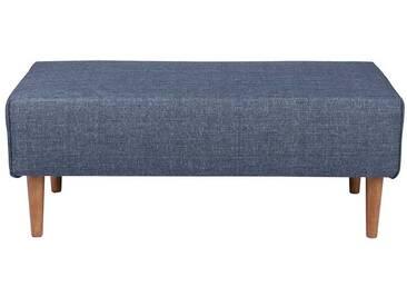 Couch Hocker im Retro Look Blau Webstoff