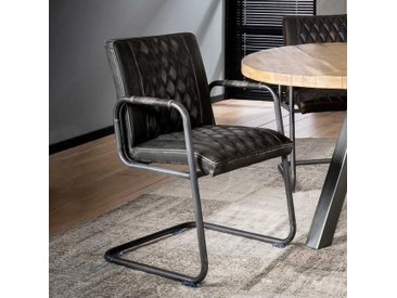 Armlehnenstühle in Anthrazit Stahl und Kunstleder (2er Set)