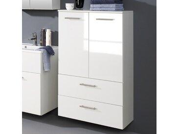 Badezimmer-Midischrank in Hochglanz-Weiß 70 cm breit