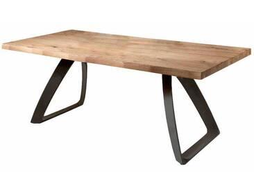 Design Esstisch mit Baumkante aus Eiche verlängerbar