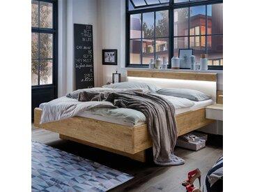 Design Komfortbett in Weiß und Eiche furniert LED Beleuchtung