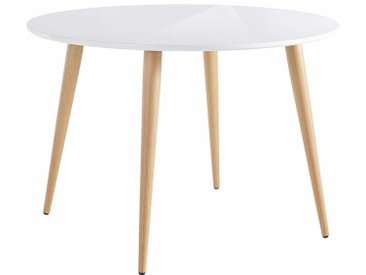 Runder Tisch im Skandi Design Weiß Hochglanz und Eichefarben