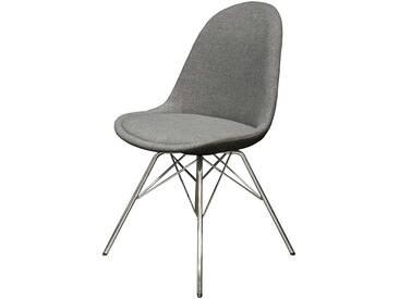 Retro Stuhl in Grau Stoff modern (2er Set)