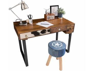 Schreibtisch und Hocker im Vintage Style Braun Bunt (2-teilig)
