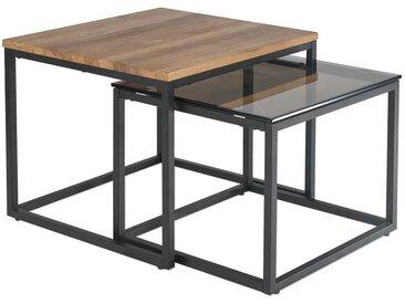 Beistelltisch Set aus Wildeiche Massivholz und Glas modern (2-teilig)
