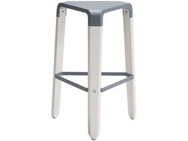 Küchenhocker mit 65 cm Sitzhöhe Weiß und Grau