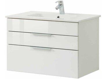 Bad Waschtisch in Weiß Hochglanz 80 cm breit