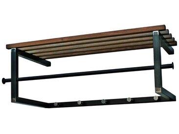 Flur Wandgarderobe in Anthrazit aus Stahl Hutablage aus Massivholz