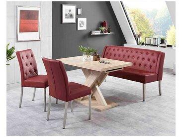 Sitzgruppe mit Bank und ausziehbarem Tisch Rot und Eiche Sonoma (4-teilig)