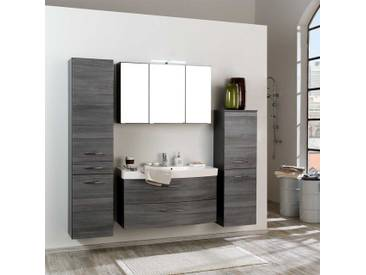 Badezimmermöbel Set in Eiche Grau 3D Spiegelschrank (4-teilig)