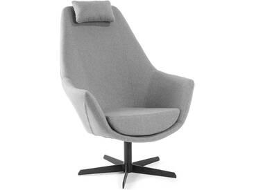 Retro Sessel in Hellgrau Webstoffbezug