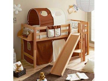 Kinder Einzelbett aus Buche Massivholz Rutsche und Tunnel in Braun