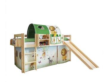 Kinder Hochbettgestell aus Kiefer Massivholz Rutsche und Tunnel im Zootier Design