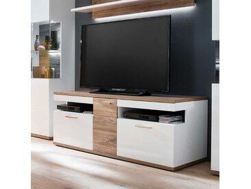 TV Bank in Weiß Hochglanz und Eiche Dekor 150 cm breit