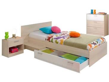 Jugendzimmer Einrichtung in Weiß Akazie Schubladenbett (3-teilig)
