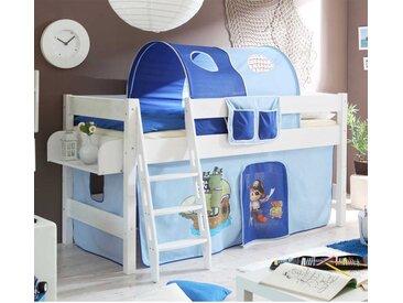 Piratenhochbett mit Vorhang und Tunnel Blau und Weiß
