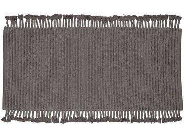 Baumwollteppich in Grau Fransen
