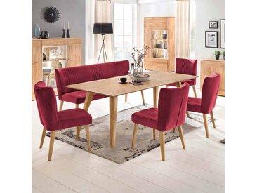 Esstisch mit Stühlen in Rot Stoff Eiche massiv Retro (6-teilig)