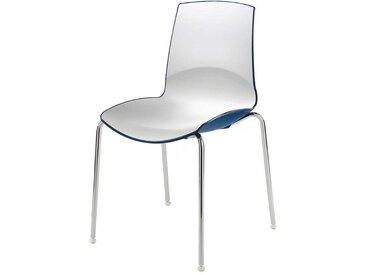 Hochglanz Stapelstuhl in Weiß und Blau (2er Set)