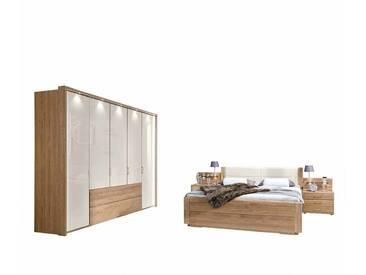 Schlafzimmer Einrichtung aus Eiche Creme Weiß Glas beschichtet (4-teilig)