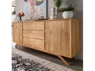 Wohnzimmer Sideboard aus Wildeiche Massivholz 180 cm